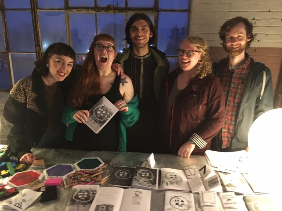 The Moon Zine editors: Julie Davis, Allison Sissom, Wes Harbison, Josh Saboorizadeh, and Lauren Kellett